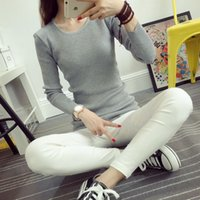 basic knit stitches - Women Sweaters O Neck Long Sleeve Cashmere Solid Color Autumn Spring Slim Pullovers Knitted Sweater Basic Knitwear Jumper FS0813