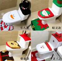 Wholesale Christmas Series Toilet Seat Covers Bathroom Set decorations Rug Bathroom New Style Via FedEx ship