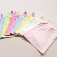baby undershirts white - New Baby Kids Butterfly Tank Tops Candy Colors Soft Cotton Underwear Baby Kids Summer Vest Tshirts Kids Undershirts