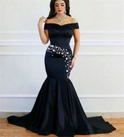 baile fashion - Afrian Formal Dresses Vestidos Do Baile De Finalistas Sexy Off the Shoulder Black Mermaid Evening Dresses