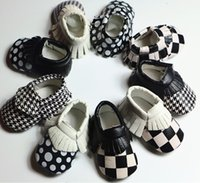 baby shoes usa - Fashion quality baby shoes plaid dots Houndstooth moccasins infants soft PU leather toddler first walker European USA Hotsale Fall winter