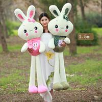 achat en gros de géant lapin farci peluche-Big Cut doux lapin en peluche peluche lapin géant énorme Doll Oreiller Jouets pour enfants