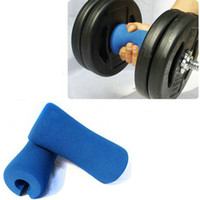 Wholesale Fitness hand grip Blue EVA Lose fat exercise Handle Club Dumbbell thicker Gym Bardull bar grips