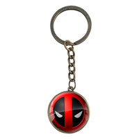 Wholesale Hot Sell DEADPOOL Key Chains Boy DC Anime Glass Cabochon Dome Pendant Keychain Vintage Cartoon Key Rings For Men Students Gifts