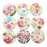 art clothing patterns - Hot Sale Popular Mixed Holes White Flower Round Pattern Wood Buttons Sewing Scrapbooking For Clothing Decoration