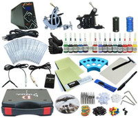 Cheap Complete Tattoo Kit 2 Machine Coil Gun Set Equipment Power Supply 15 Color Inks TKP-D2-5