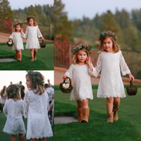 Simple verano completo encaje flor vestidos de las niñas para bodas Cuello del equipo de manga larga vestido de la primera comunión longitud de la rodilla corto vestido de fiesta