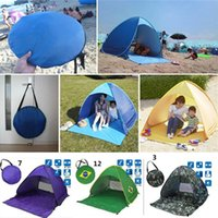 Wholesale Single Person Beach Tent - Quick Automatic Opening Hiking Tents Outdoors Camping Shelters 50+ UV Protection Tent for Beach Travel Lawn Home 10 PCS Multicolor DHL Fedex