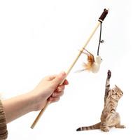 Venta caliente creativa gato bromas juguetes interactivo gatito gatito juguetes Dangler varita con campanas lindo elástico Rods juguete JJ0138