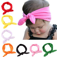 Wholesale Lace Rabbit Ears Headband - Mixed 10 Colours Stylish Baby Kids Elastic Rabbit Bow Ear Hairband Turban Knot Head Wraps For Girls Cute Headbands judy0773 1949