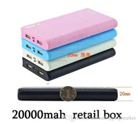Wholesale 20000 mah New Portable Power Banks PowerBank Double USB External Backup Battery Charger for iphone s plus samsung HTC Nokia sony