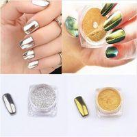 Wholesale 3g box Shinning Mirror Powder Gold Sliver Nail Art Chrome Pigment Glitters DIY