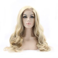Cheap Natural look vintage blonde wig long loose wave wigs Brazilian hair synthetic lace front wig heat resistant Synthetic Hair