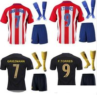 Wholesale Mixed buy DHL Atletico Madrid Jersey GRIEZMANN home away TORRES ARDA thai quality man s adults kits with socks football shirt soccer