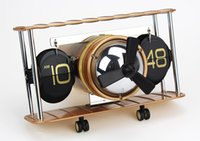airplane calendar - 2016 Auto Flip Clock Airplane Propellor Airscrew Retro Internal Gear Operated Clock Creative Home Decor