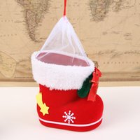 Wholesale Christmas gift bag boy girl boots Christmas decorations children candy box window ornaments ornaments DIY socks pen by young people love the