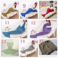 Wholesale DHL Adult Handmade Popular Tail Blankets Crochet Mermaid Blankets Mermaid Tail Sleeping Bags Cocoon Mattress Knit Sofa Blankets colors