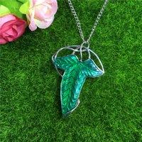 el envío libre! El más barato La comunidad del anillo verde de la hoja de Elven Broche colgante con la cadena del collar de la broche POR DHL 160487