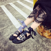 ballet metals - 2016 spring new influx of European and American ballet flat shoes foot ring metal buckle cross straps punk singles shoes