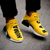 Wholesale with Box Men s NMD Runner Human Race Fashion Sports Running Shoes Women NMD Pharrell Williams X Boost Trainer Sneakers Orange Yellow