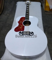 Wholesale Left handed OEM inch jumbo WHITE color classical acoustic guitar J200 cut away China made guitars