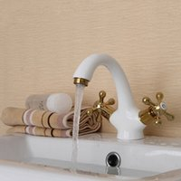 bathroom basins with faucet - Best Promotion Grilled White Painting Double Handle Bathroom Faucet torneira Brass Basin Sink Mixer Tap Deck Mounted