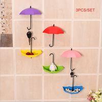 adhesive hooks for walls - DHL free sets Creative DIY D colorful umbrella design hook home decoration wall sticker kitchen bathroom holder piece