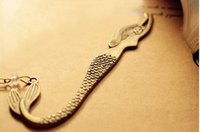Wholesale jewelry accessories alloy antique bronze mermaid with charms bookmark BX10019 x32mm