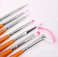 Cheap 7pcs Nail Art Dust Powder Brushes Makeup Cosmetic Brushes Nail Art Decorations Brush Set Tools Kit Professional Painting Pen Remover Brush