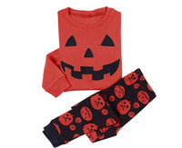 Wholesale Children Pumpkin Halloween costumes pajamas long sleeve kids pjms spring autumn winter girls boys Loungewear nightwear holidays clothes