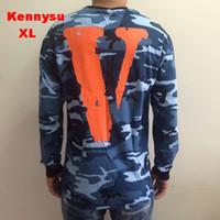 Cheap Wholesale-2016 hip hop streetwear men unisex vlone friends V round neck Camouflage cotton long sleeev t shirt