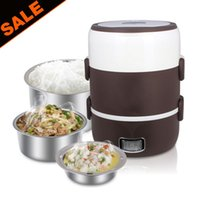 Wholesale Round Shape ML layers Stainless Steel Liner Rice Cooker Electric Heating Food Box Lunch Box Preservation Box Fast Shipping