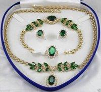 beautiful red jewellery - gt gt Beautiful Jewellery Women s Set Green Crystal Necklace Earring Ring Bracelet