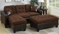sectional sofa - Living Room Furniture Chocolate Padded Suede Microfiber Reversible Sectional Sofa Bed