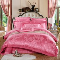 Wholesale Pink Tencel Cotton Jacquard Wedding Bedding Sets Queen King Size Duvet Cover Bed Sheet Pillowcase Best Selling goods
