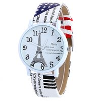 Wholesale Fashion women Eiffel Tower English Lettering printing leather watch casual girls colorful dress quartz watches
