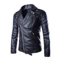 Wholesale Fall JJ Cool Motorcycle Jacket Fashion Diagonal Zipper Black Pu Leather Jacket Brand Windproof Biker Jacket Blouson Moto Veste