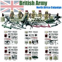 africa plastics - WW2 Battle of North Africa Army Sandbag Minifigures Building Blocks British Army Military Solider Bricks Toys with Weapons Doll D163