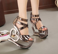 Wholesale 2016 new summer Club Super sexy high heels shoes with slope shaped waterproof lady fish mouth sandals