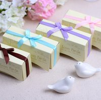 Wholesale Love Birds In The Window quot Ceramic Salt Pepper Shakers Wedding Favors boxes