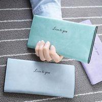 Bolsos de las mujeres suaves bolso titular de la tarjeta retro señora larga cartera de moda bolsos delgada carpeta de estilo vintage