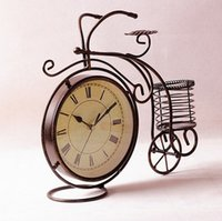 bicycle basket metal - Retro Vintage Style Metal Bike Bicycle Clock Basket Home Decor Table Clock Ornament