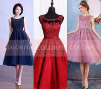 Wholesale 2016 Hot Cheap Short Knee Length Homecoming Dresses Modern Organza Applique Beaded Lace Crew Neck Cocktail Party Dress Evening Gowns CPS298
