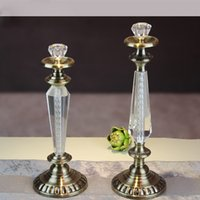 Wholesale Project Candle Holder Modern European Style Wedding Crystal Candle Holder Home Decor Romantic Dinning Candlestick Holder Hotel