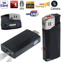 Wholesale HD P Hidden Mini Lighter Spy Camera Fashlight Lighter Spy DV Portable Candid Camera Mini Video Reocrder P USB Lighter DVR