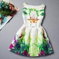 Wholesale Striped Purple Girl Dress - Spring Autumn Dresses Girls Floral Dress Children Flower Print Dress Girl A line Dress Sleeveless Butterfly Dress 20 Colors