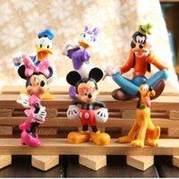 al por mayor mickey mouse torpe-Nuevas figuras de acción libres de Mickey Mouse Pluto del envío de la venta caliente Figuras de acción del PVC ACGN de las muñecas del pato de la margarita del pato de Donald del ratón de Minie Juguetes Anime 8-9CM
