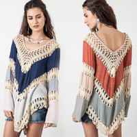 Wholesale 2016 Fashion Women Crochet Knit Blouses with Long Sleeve Summer Woman Tops V Neck Splice Shirt Hollow Out Clothes
