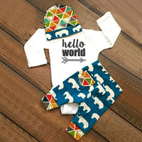 baby boy elephants - 2016 baby ins boys rompers suits set long sleeve jumpsuits hello world letters printed elephant printed long pants headband sets