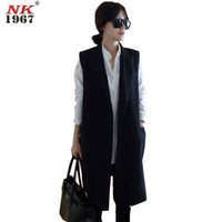 Wholesale NK1967 New Office Lady Elegant Jackets Vests for Women Sleeveless Black Long Outerwear Casual Vests Women Coats